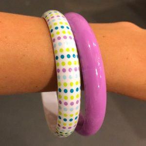 Claire's Little Girl Bangles Purple Polka Dots
